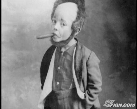Buster Keaton som barn. Med lösskägg och en stor cigarr.