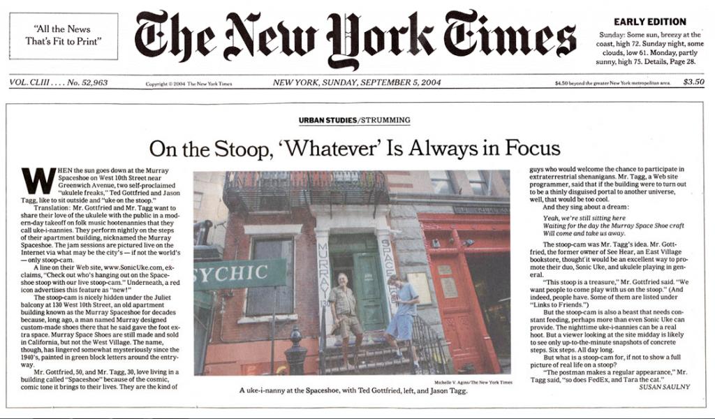 Tidningsklipp om Ted och Jason och deras Stoop från New York Times