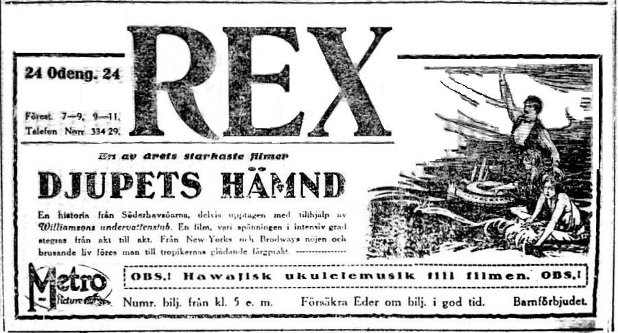 Annons för filmen Djupets Hämd i DN 8 december 1924.