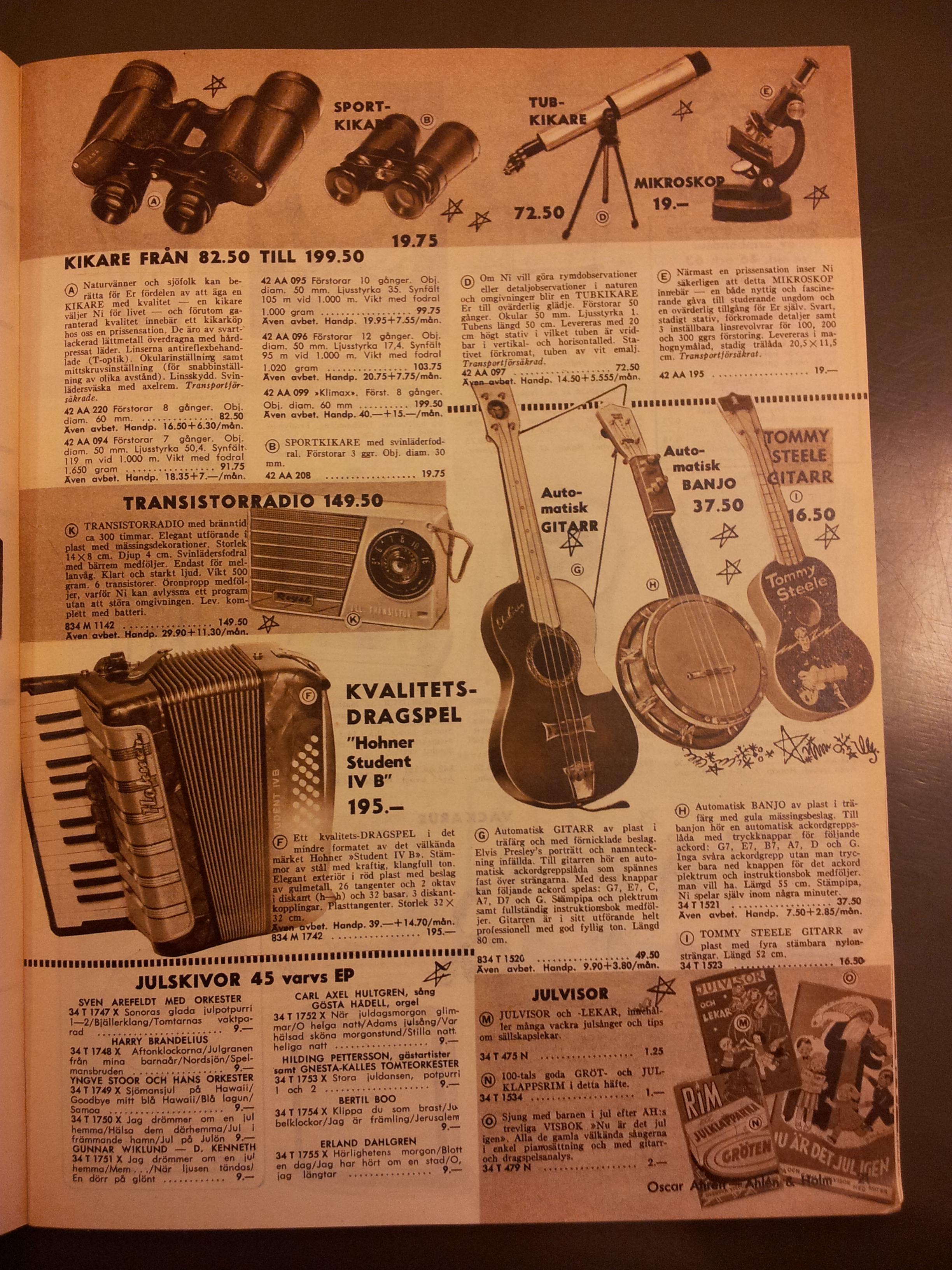 Åhlén & Holms julkatalog 1959. Här dyker de falskskyltade ukulelerna upp för första gången. I allehanda lustiga förklädnader, dessutom.