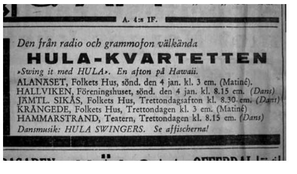 Hula-kvartetten_Annons_i_Östersundsposten_1942